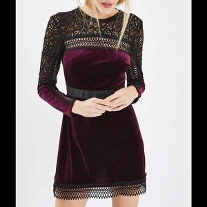 Topshop Velvet Lace Trim A-Line Dress